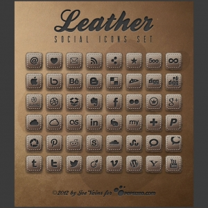 Leather PSD Social Icons