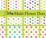 Colorful flower dot patterns