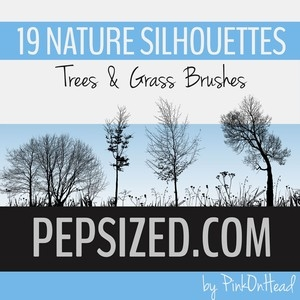 Nature Silhouettes Trees and grass brushes Photoshop Brushes - Free
